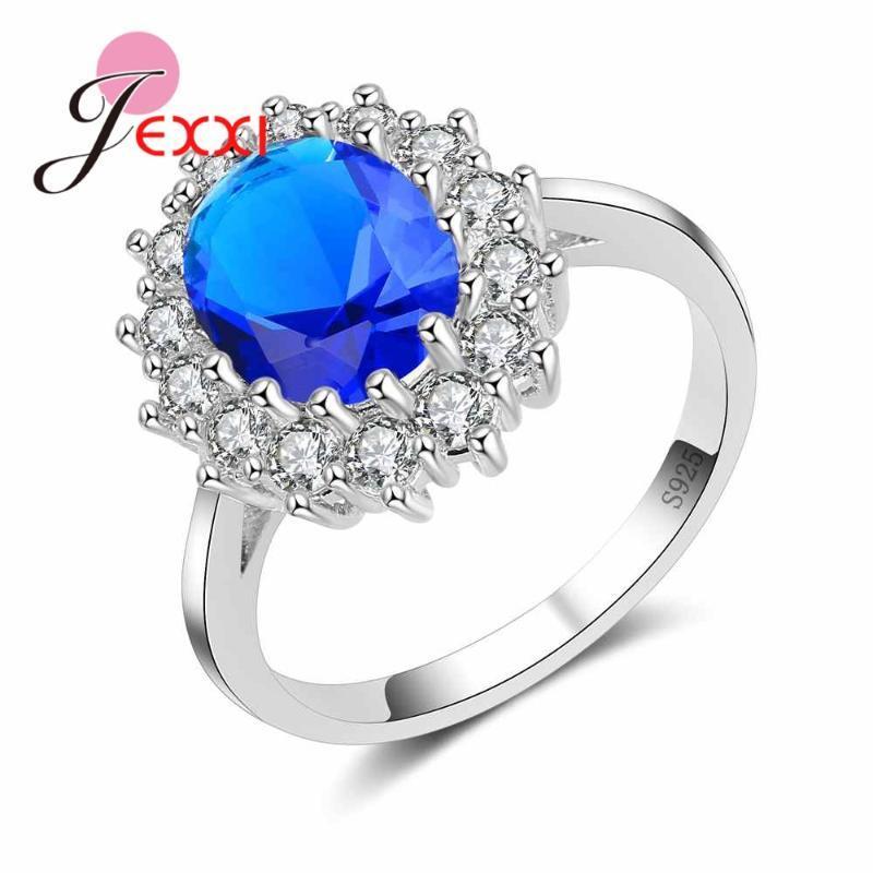 Creative Ovale Bleu zircon cubique anneau autour de Cristal Blanc Argent 925 Bijoux Gravez Femmes Anneaux Délicat
