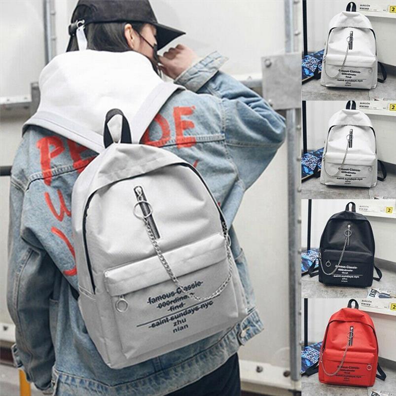 NoEnName Null Moda Mulheres Meninas Alphabet Imprimir Mochila Escolar Saco Tendência Duplo Shoulder Bag Mochila