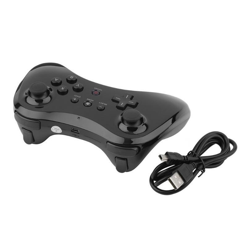 Design ergonomico Wireless Gamepad Joypad della barra di comando a distanza nero Wireless Controller Adatto per Wii U Pro