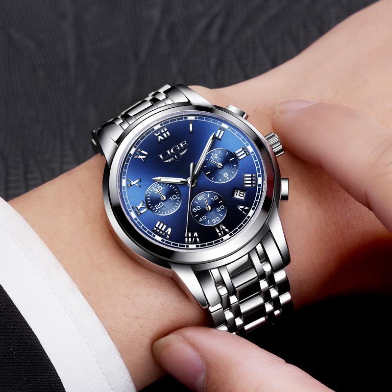 Mayforest Men Watch di lusso superiori di marca Sport Chronograph Orologi Mens acciaio impermeabile completa al quarzo di orologi Relogio Masculino