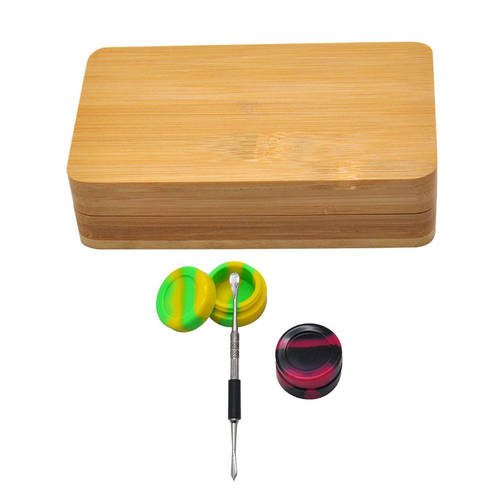 Wachs Dabber Tool Kit Combo Wachs Dabber Nagel + Silikon Wachs JAR Container + Natürliche Bambusbrett Zwei Teile mit Magnet für Werkzeugspeicher