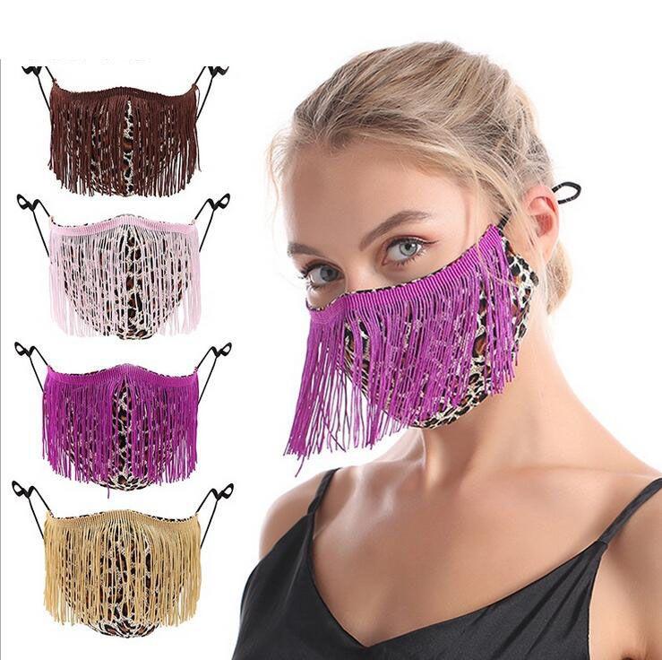 Мода кисточка леопардового лица Маски Дизайнерская моющийся пылезащитный респиратор Велоспорт Мужчины Женщина Открытый спорт Печать Хлопок Mouth маска