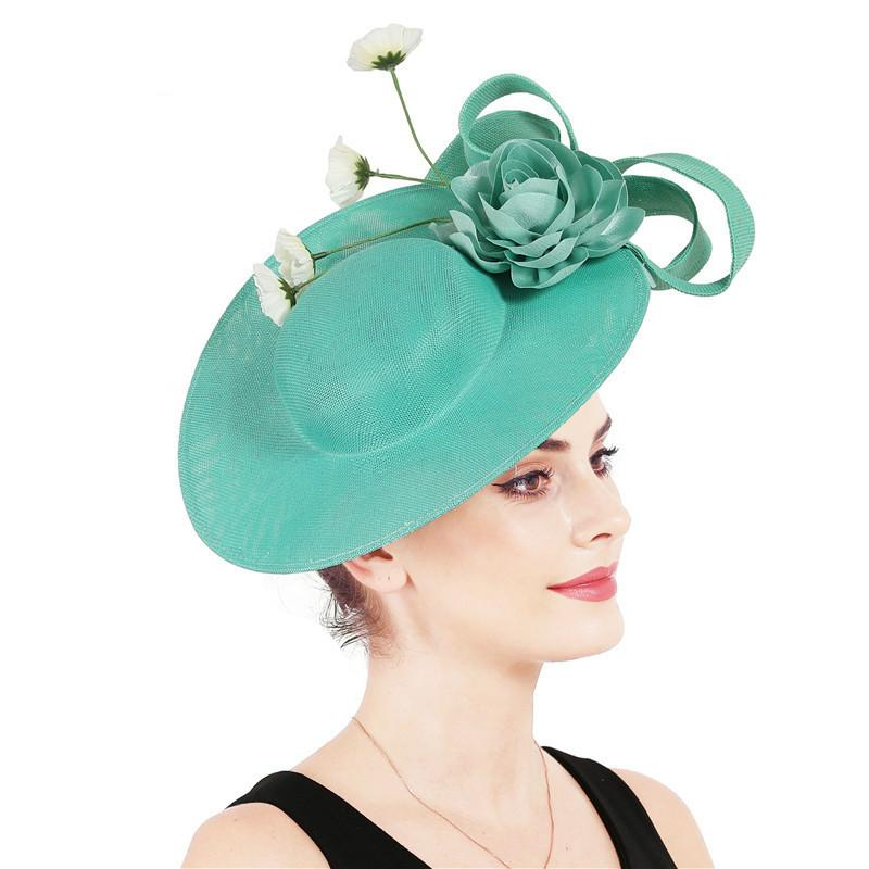 Esagerato Grande Cappello britannico cappello Corte banchetti Passerella Headwear verde giada Fascinator Fedora Fascinators per la donna elegante