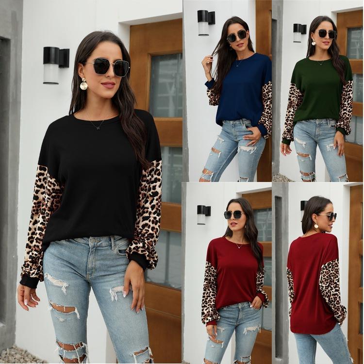 2020 autunno e in inverno i nuovi arrivi lanterna stile caldo delle donne rotonda manica della stampa del collo leopardo cucitura T-shirt maglione