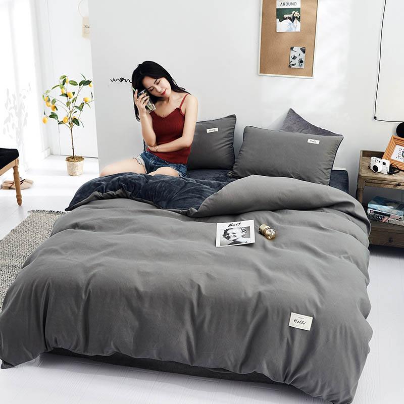 3pcs / 4pcs Quente Cor Plain Início Bedding Set coreana Parure Lit Capa da manta e fronhas Set Hotel Roupa de cama