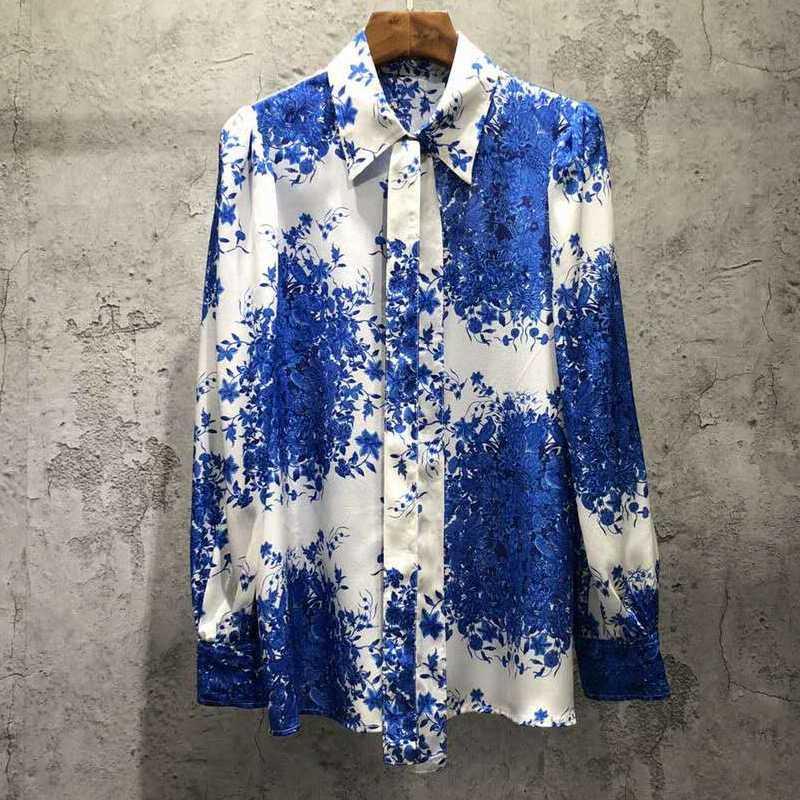 VERDEJULIAY desiger Moda% 100 İpek Bluz Kadınlar Sonbahar Uzun Kollu Mavi Çiçek Ofisi Bayanlar Bluz yazdır