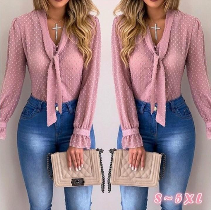 Moda-Kadınlar Bluzlar Moda Uzun Kollu V yaka Pembe Gömlek şifon Ofisi Bluz İnce Casual Üstler Plus Size S-5XL