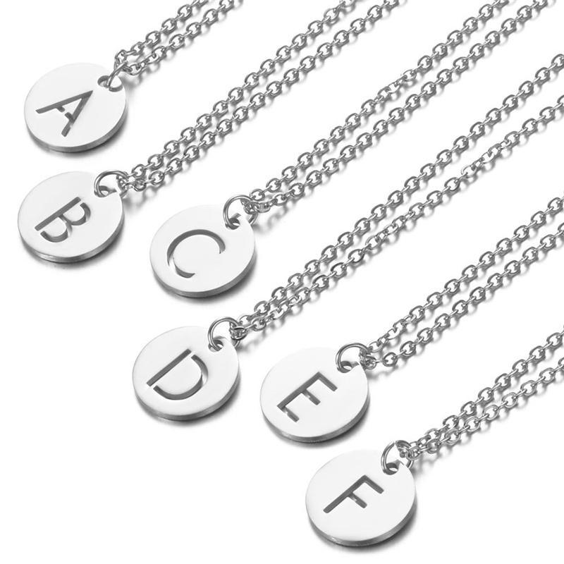 26 Anfangsbuchstabe-Halskette Frauen Chokerentwurf A-Z Alphabete Edelstahl-Anhänger Halskette Fashion Schmuck-Geschenke für Männer Mädchen Lady
