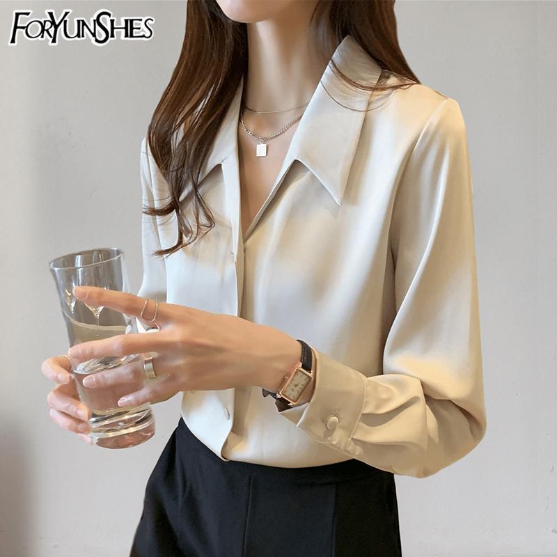 FORYUNSHES Mujeres satén sedoso camisas 2020 Moda otoño del resorte de la vendimia de manga larga sólido blusa elegante de la oficina de señora elegante Top