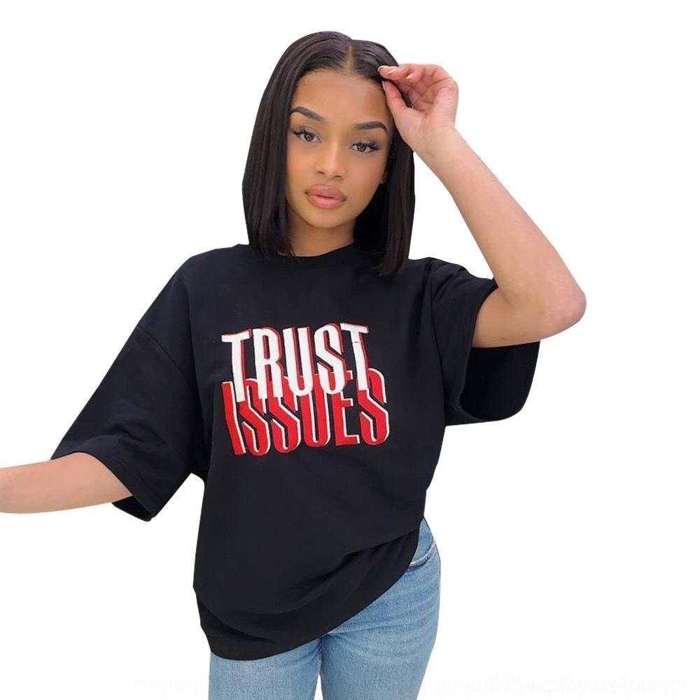 NLMjJ compensato lettera lettera stampa offset F T-shirt delle donne stampa la maglietta