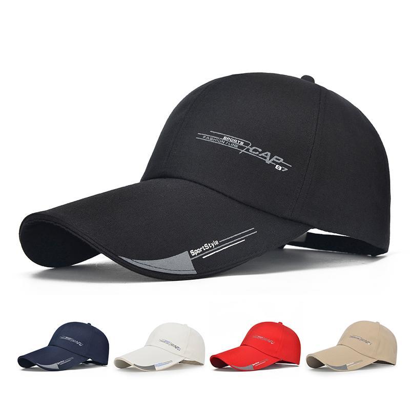 Boné de beisebol Mens Hat para peixes Casual lazer Chapéus Sólidos Moda Snapback Verão Hat alta qualidade longa Visor Brim Sombra Cap