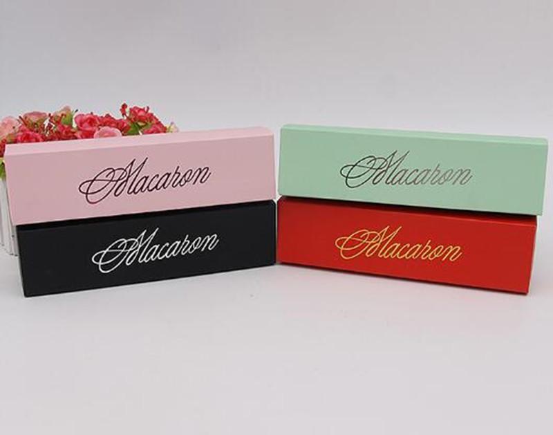 Macaron Kek Kutuları Ev Yapımı Macaron Çikolata Kutuları Bisküvi Muffin Kutu Perakende Kağıt 20.3 * 5.3 * 5.3cm Siyah Pembe Yeşil DHBE1884 Packaging