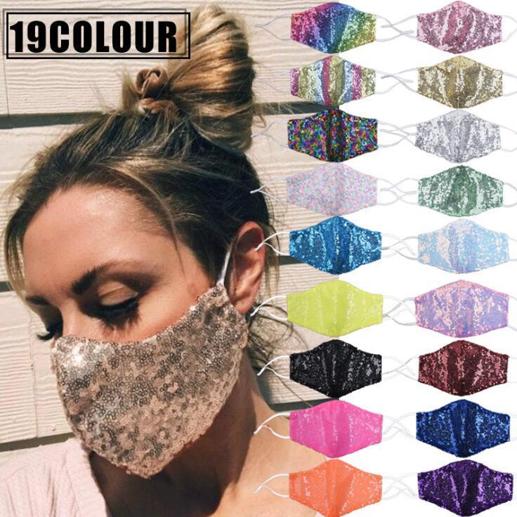Lentejuelas de la mascarilla de la manera de Bling Bling diseño máscaras respiratorias a prueba de polvo reutilizable lavable boca unisex Ciclismo Máscara Diseñador DWF563