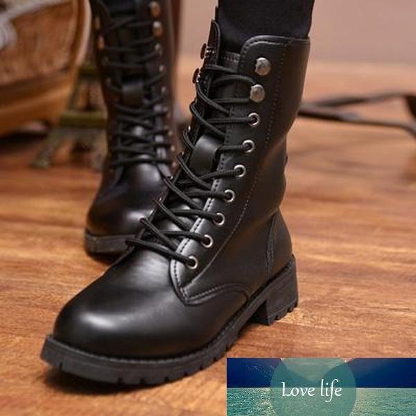 Donne Moto Stivali Vento britannico femminile di autunno Stivaletti Nuovo Autunno signore Army Boots