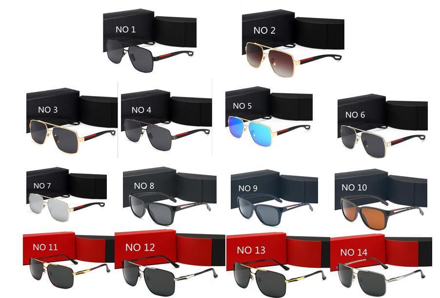 Designer hochwertiger Mode Sonnenbrillen für Männer und Frauen Oculos De Sol Starken Scharnier Metallrahmen Gläser quadratischen Rahmen Sun-Glas-Box