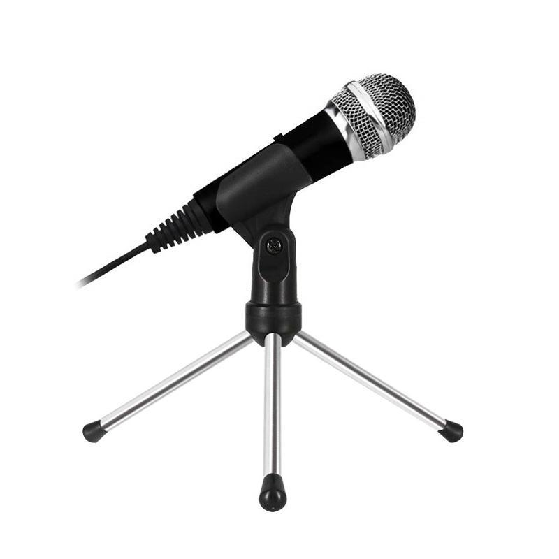 Мини-кардиоида Караоке микрофон с подставкой для ПК караоке, Youtube, игровой записи 3.5 мм Запись Mic подключи и играй