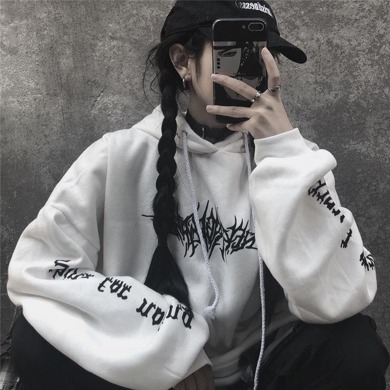 Suelta de Calle Negro sudadera con capucha de punto de la impresión atractiva de moda sudaderas con capucha Moletom largo tapas de las mujeres dropshipping