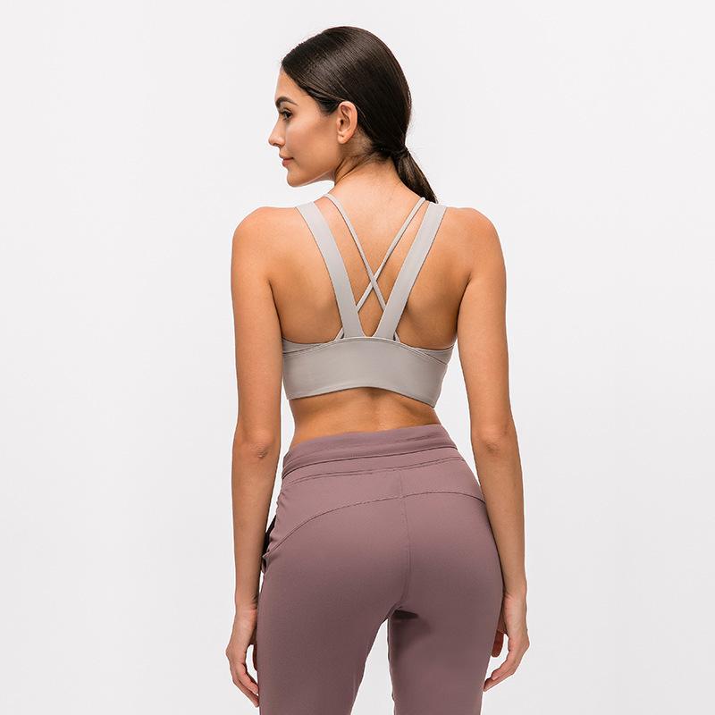 yoga se divierte el sujetador a prueba de golpes xiaobaigou recolección de fitness correr lu yoga acolchado chaleco ropa a través del cuerpo atractivo gimnasia mujeres underwears sujetador lu