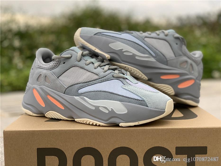 Yeni Yüksek Otantik 700 Atalet Kanye West Ayakkabı Mavi Gri Erkekler Kadınlar Doğa Sporları Sneakers APE779001 ile Kutusu ile Kutu Boyutu 36-47 Koşu