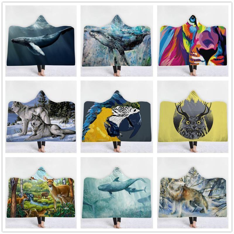 Animal Lion Loup cerf sika 3D Imprimé en peluche avec capuche Couverture pour lits chauds Wearable doux couvertures en molleton Throw