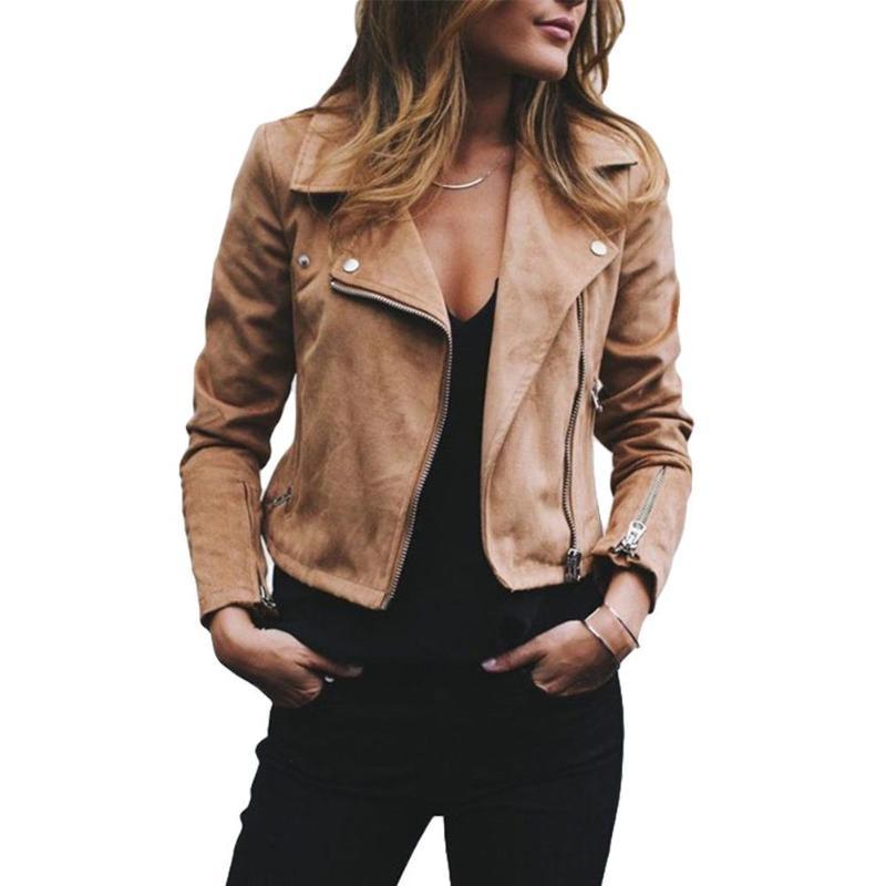 Hiver New femmes de veste Veste en cuir pour femmes Manteau moteur Zip Lapel Biker court Punk Top recadrée