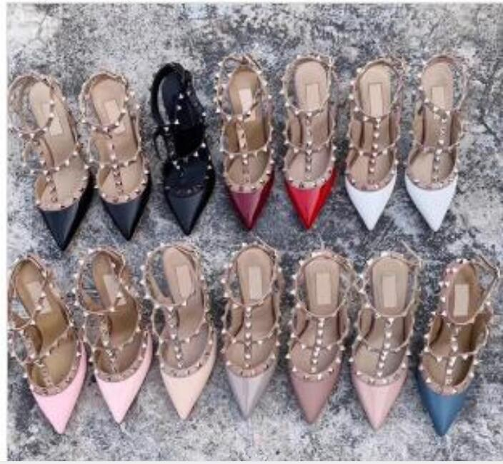 2020 Designer sandals Spikes High Heels 2-6-10 cm Genuine leather Sexy Dress Shoes High Heels Women Shoes Red Black Pump Patent strap Shoes