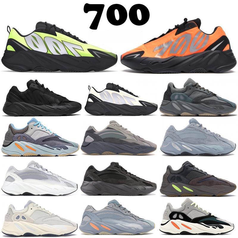 700 v2 Runner 2020 New Kanye West Orange Phosphor Osso Homens Mulheres de carbono azul da cerceta estáticos Sports inércia Vanta Running Shoes homens Sneakers