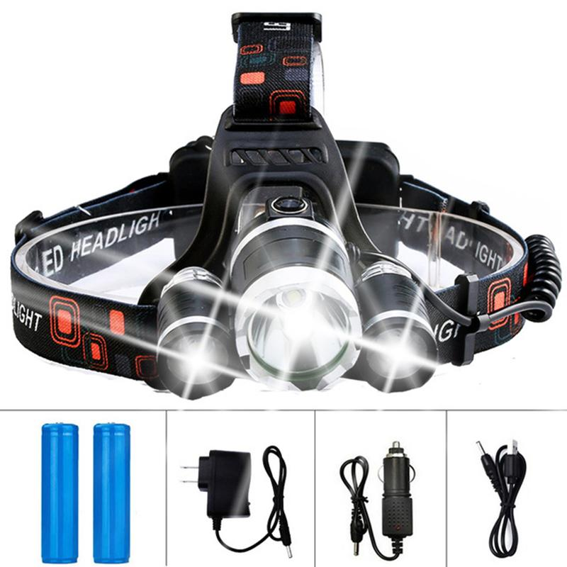 Dropshipping LED Headlamp Headlight Flashlight Rechargeable 3 T6 R5 LED Hard Hat Headlight Battery Car Wall Charger for Camping