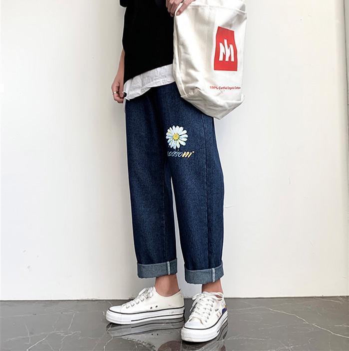 Los pantalones de pierna ancha Adolescente estilo de la calle Pantalones para hombre de la margarita Carta del diseñador Jeans Primavera Verano recta más el tamaño de la luz lavada