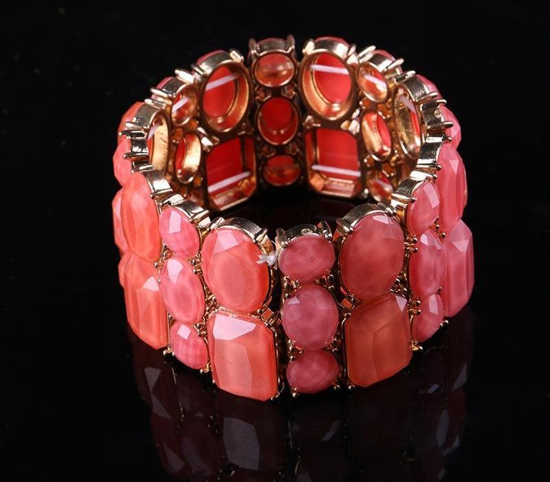 Mode européens et américains Bracelet Métal Acrylique large Version élastique Exagéré Bracelet66