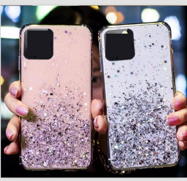 Glitter Foil Star Shine TPU per Iphone 12 11 Pro Max X XS XR SE 2020 SE2 6 6S 7 8 PLUS Bling libera del telefono della copertura posteriore gelatina di lusso