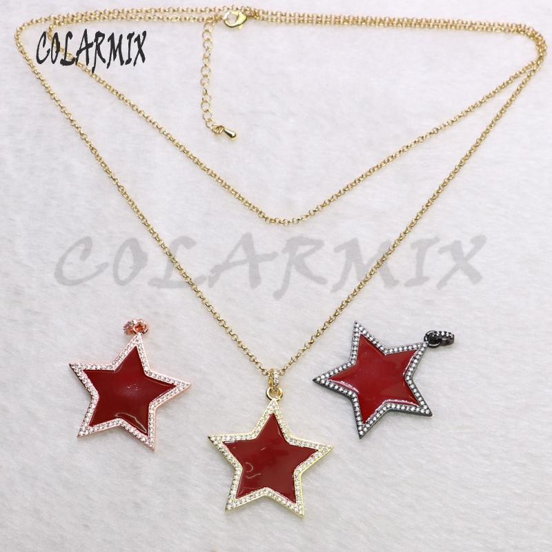 5 piezas colgantes estrella de color rojo collar de cristal mezclan colores colgantes accesorios de joyería de las mujeres para la señora 5538