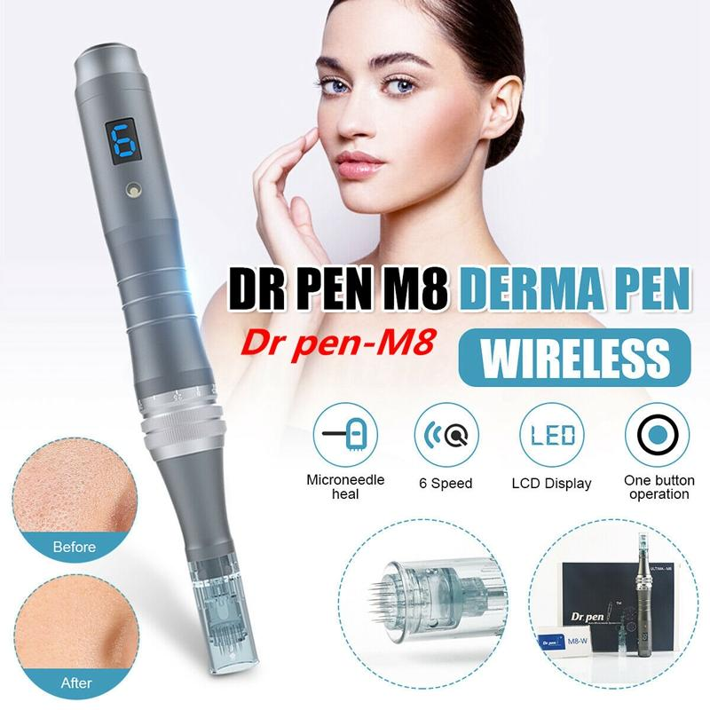 2020 Profesyonel dr kalem Ultima M8 şarj edilebilir derma kalem iğne kartuşları ile dermapen microneedling Hızlı Nakliye DHL
