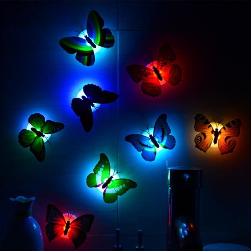 다채로운 빛나는 인공 나비 밤 빛 홈 파티 웨딩 장식 조명 램프 벽 스티커 아이 선물 무료 배송