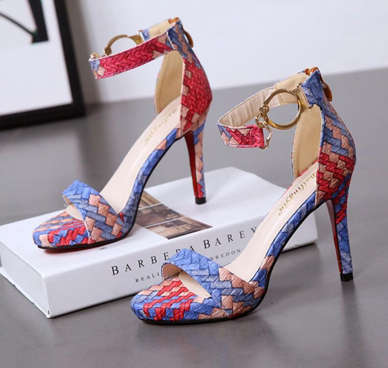 Red bottom heels beautiful colorful print knitted Korean open-toe one-piece button matching with sexy nightclub versatile female sandals