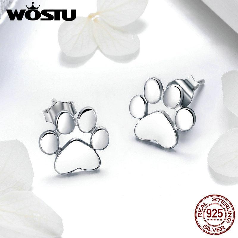 WOSTU caliente verdadero de la venta 925 Huellas lindo perro Pendientes Tiny plata esterlina para la joyería de las mujeres S925 regalo de la manera BKE407
