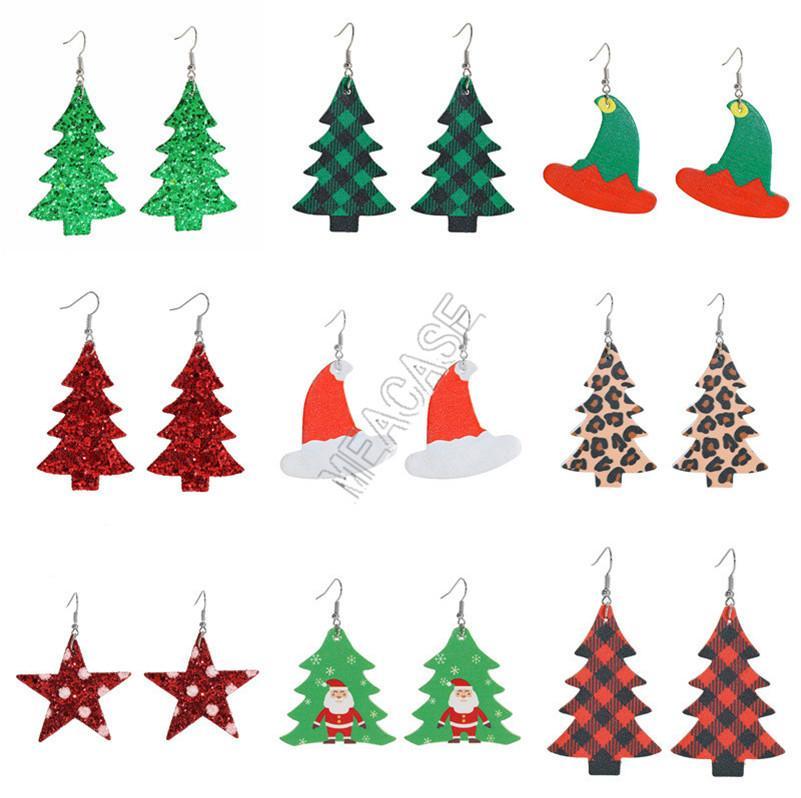 أقراط النساء PU جلدية جديدة المصممين شجرة عيد الميلاد جرس عيد الميلاد قبعة رقصة البولكا نقطة Waterdrop أقراط رئيس دير طويل إسقاط أقراط D9209