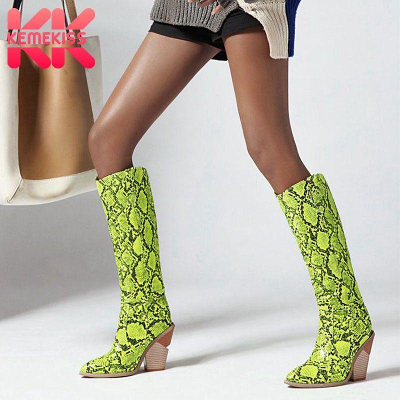 الأحذية Kemekiss زائد الحجم 33-46 الركبة عالية للنساء الثعبان طباعة أسافين الأحذية أشار تو الانزلاق على حزب الإناث الأحذية