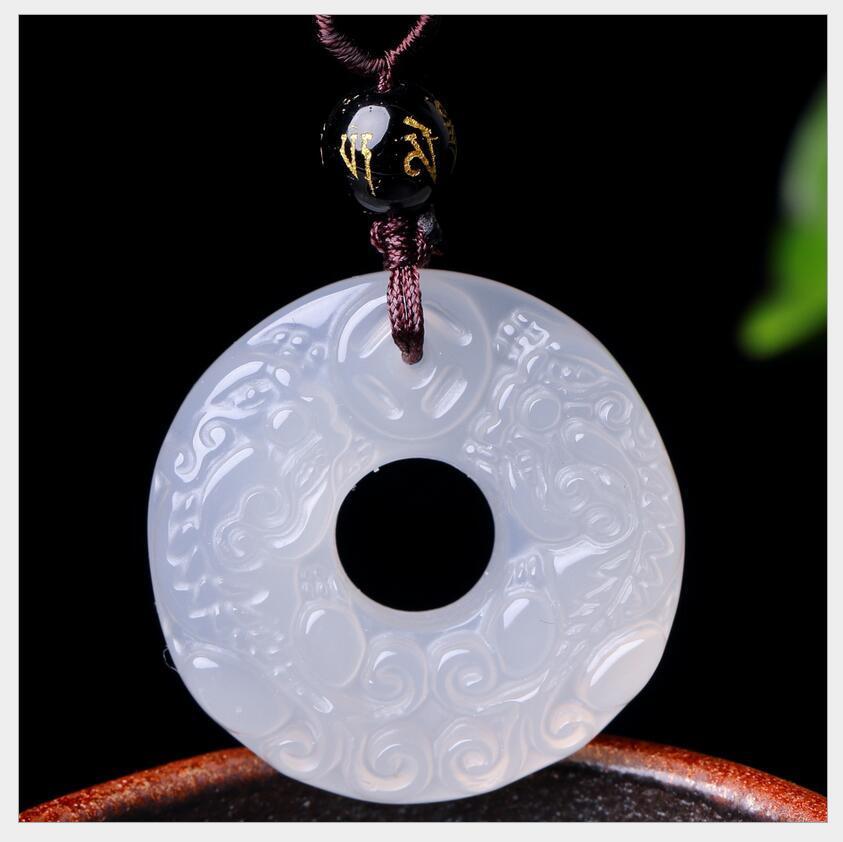 Achat, Chalzedon und mutig sicher Schnalle Anhänger mehrfarbige Jade sicher Ring bi Jade Jade Anhänger