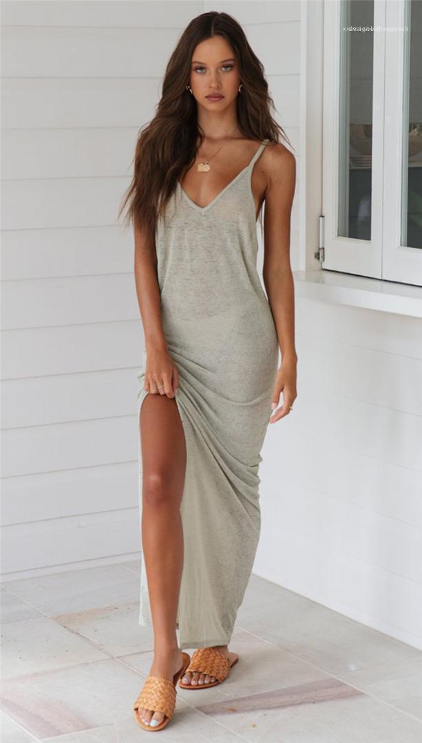 V-образным вырезом выдалбливают платья вскользь естественный цвет платья без рукавов Женская одежда Женская Дизайнерская Пляж Платья Sexy Глубокий