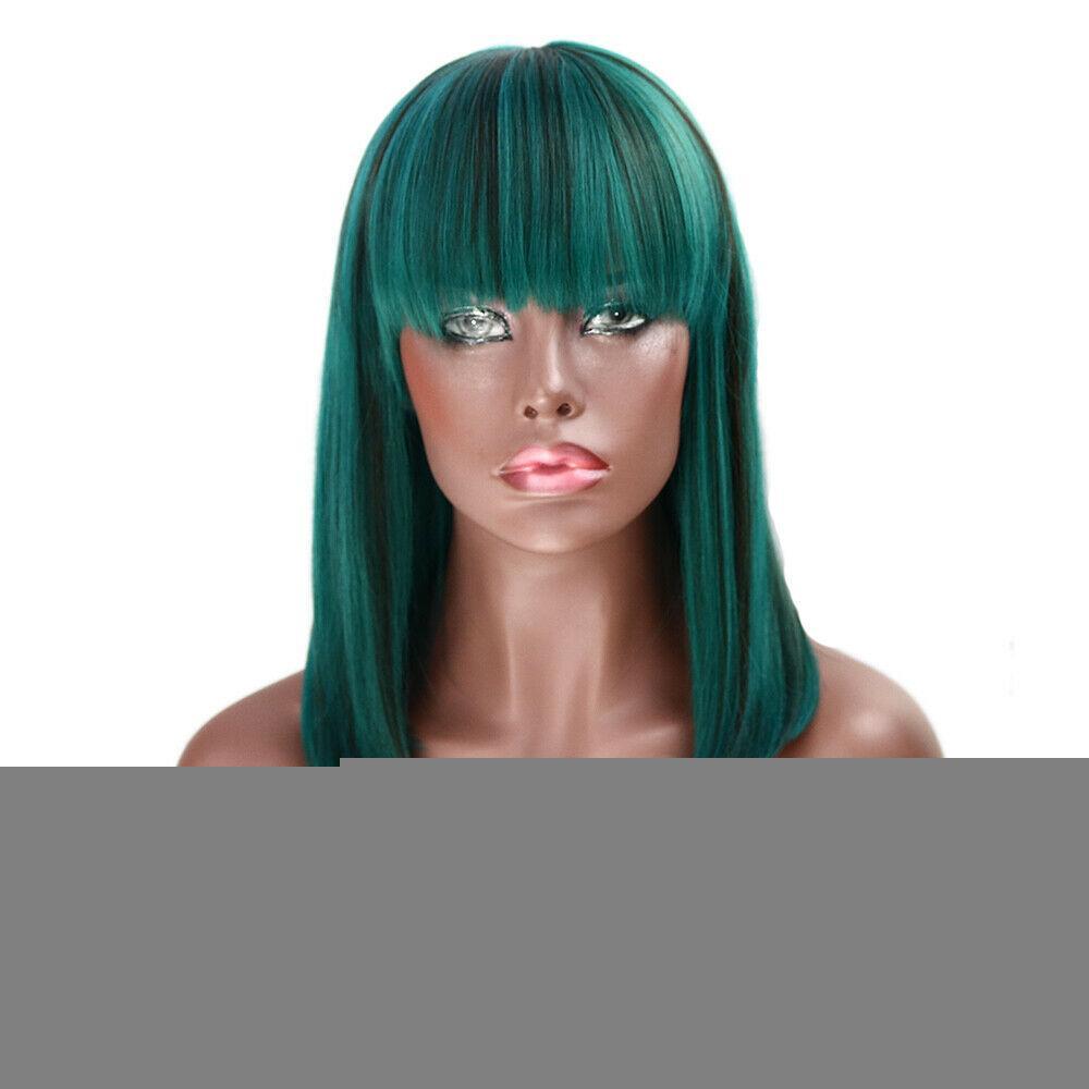 Droit Bob Plein moyen perruques cosplay cheveux naturel synthétique Pop Party Neat Bang