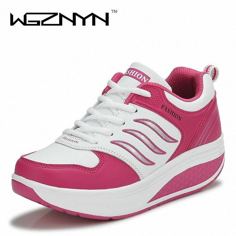 WGZNYN 2020 Nouvelle Arrivée Chaussures Casual femme hauteur croissante Minceur swing Chaussures respirant Air Mesh Plate-forme # MAGA
