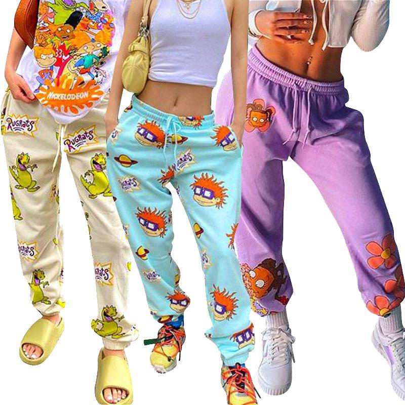 Kadınlar Tozluklar Günlük Moda Çizgi Desen Baskılı Bant Bel Halat Gevşek Spor Pantolon Bayanlar Yeni Trend kişiselleştirin Pantolon 2020