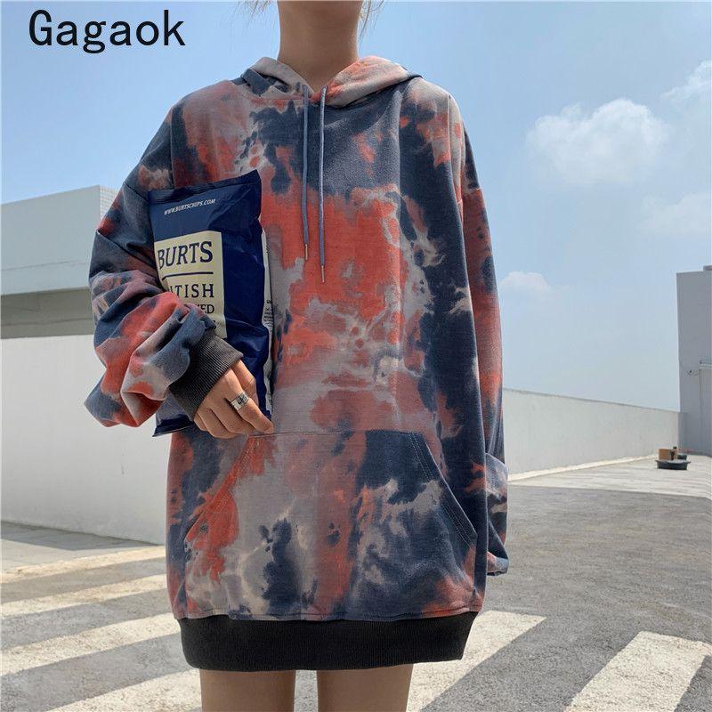 Gagaok Streetwear Tie Dye Donne Moda Hoodies 2020 di autunno della molla Nuovo incappucciato Lace Full Up casuale allentata Harajuku selvaggio Pullover 0916