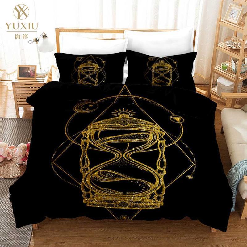 Letto di lusso Bedding Set 3D Black Gold Scorpion Regina Meteor Scorpio Copripiumino Costellazione re di Boemia Set Biancheria