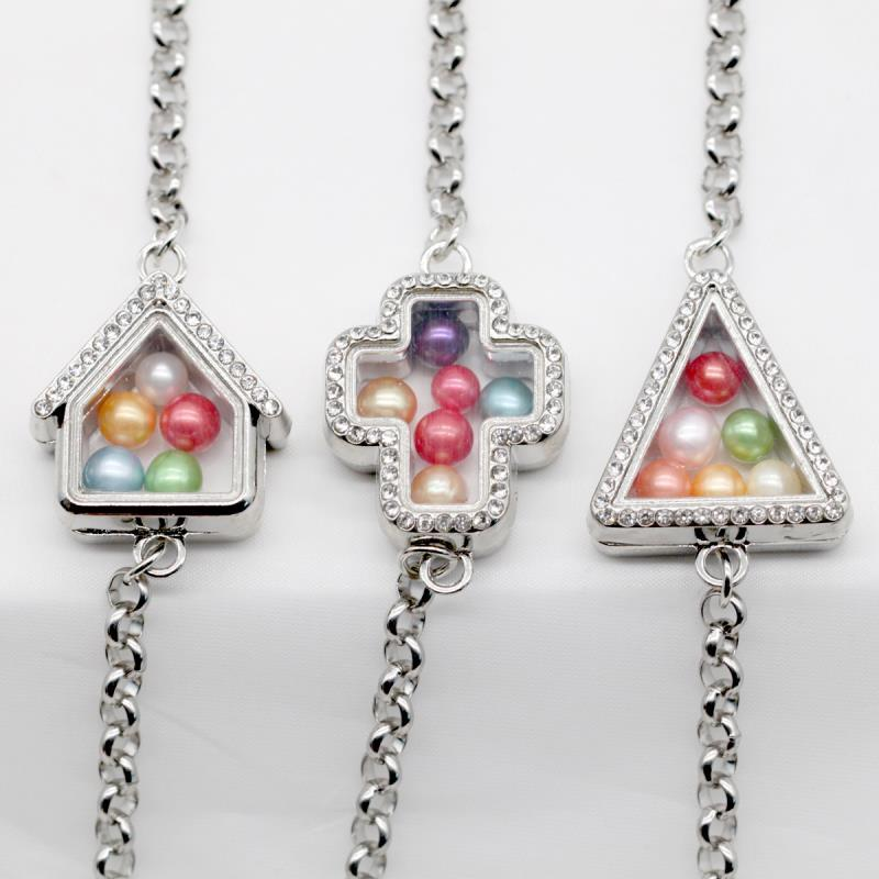 Neue Speicher-Floating-Medaillons Armbänder Kreuz Dreieck Haus 7 Styles Edelstahl Glas Locket Armbänder SL025