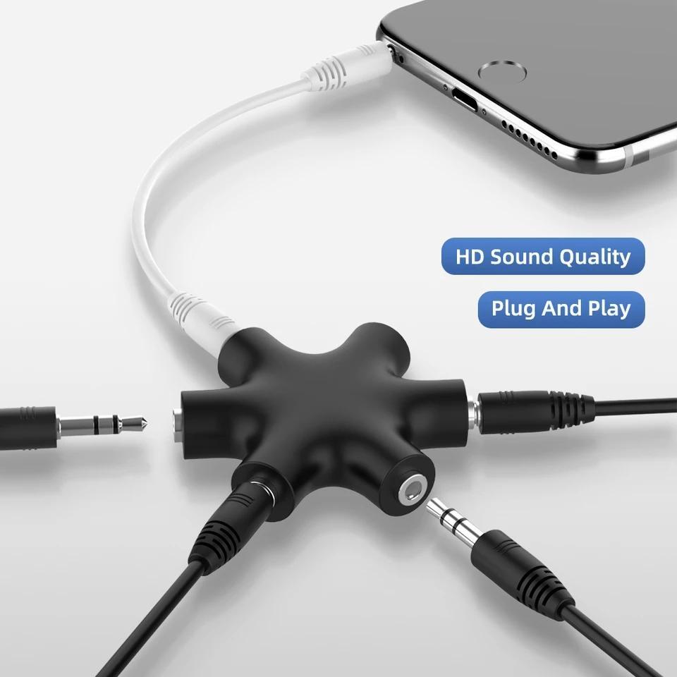 3,5 milímetros de áudio Aux Cable Splitter 1 macho para 5 Female Headphone Port 3,5 Jack Compartilhar Adaptador para Tablet MP3 MP4 telefone móvel esperto