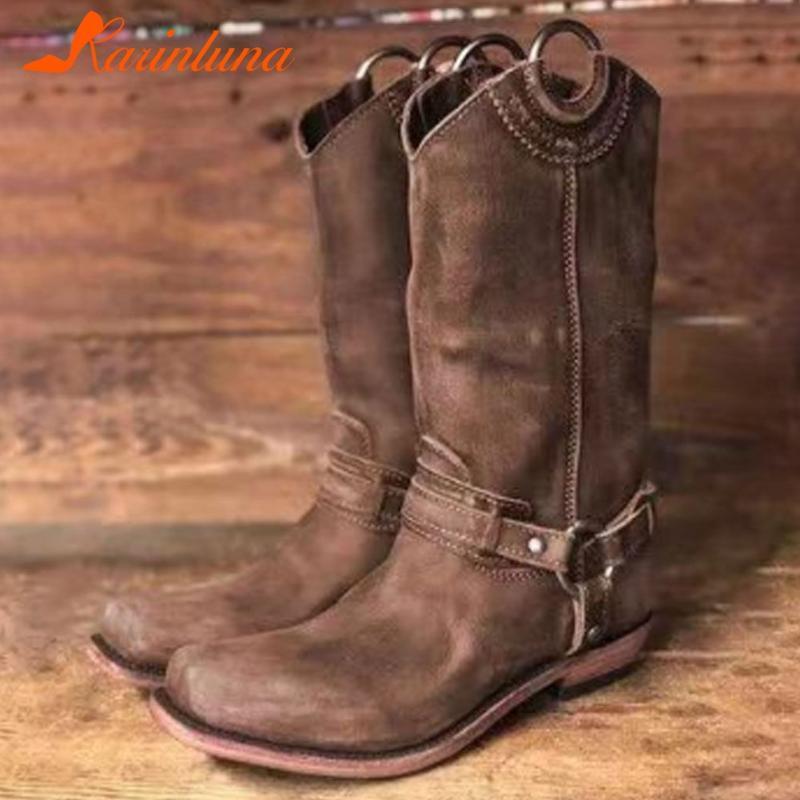 Karin 2020 la venta caliente de gran tamaño 43 talones gruesos concisos zapatos Slip Mujer Botas Mujer en los talones gruesos cómodo botas de invierno