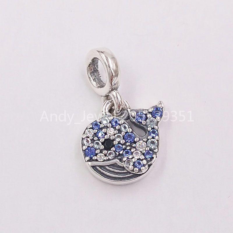 Autentico 925 perline in argento sterling 925 My Blue Whale Dangle Charm Charms Adatto a Bracciali europei Bracciali di gioielli in stile Pandora 798972C01