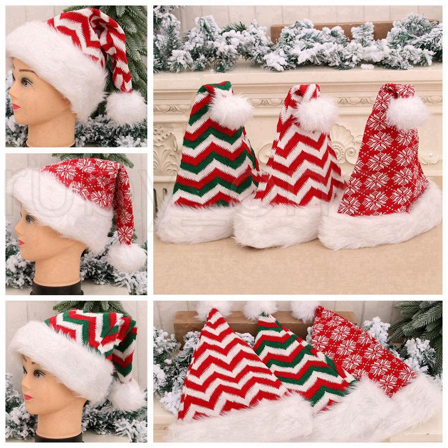 Örme Uzun Zımba Çizgili Noel Peluş Şapka Yetişkin Noel Yün Şapka Parti Şapkası Noel Süsleri Noel hediyeleri RRA3442